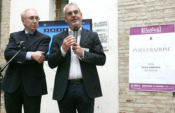 Il rettore Luigi Lacchè e il sindaco Romano Carancini