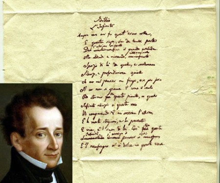 Il manoscritto sequestrato e, nel riquadro, Giacomo Leopardi