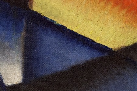 """Particolare della tela """"Treno in corsa"""" di Ivo Pannaggi"""