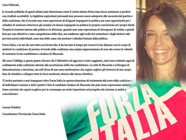 La lettera aperta con cui i Lorena Polidori aveva chiesto a Deborah Pantana di rinunciare alla candidatura